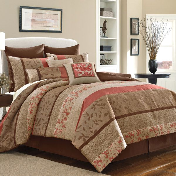 Bed bath beyond bedding coral and brown i like this - Bed bath and beyond bedroom furniture ...