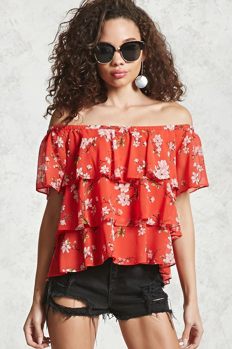 800fecc6ecc A tiered woven off-the-shoulder top featuring an ornate floral print ...