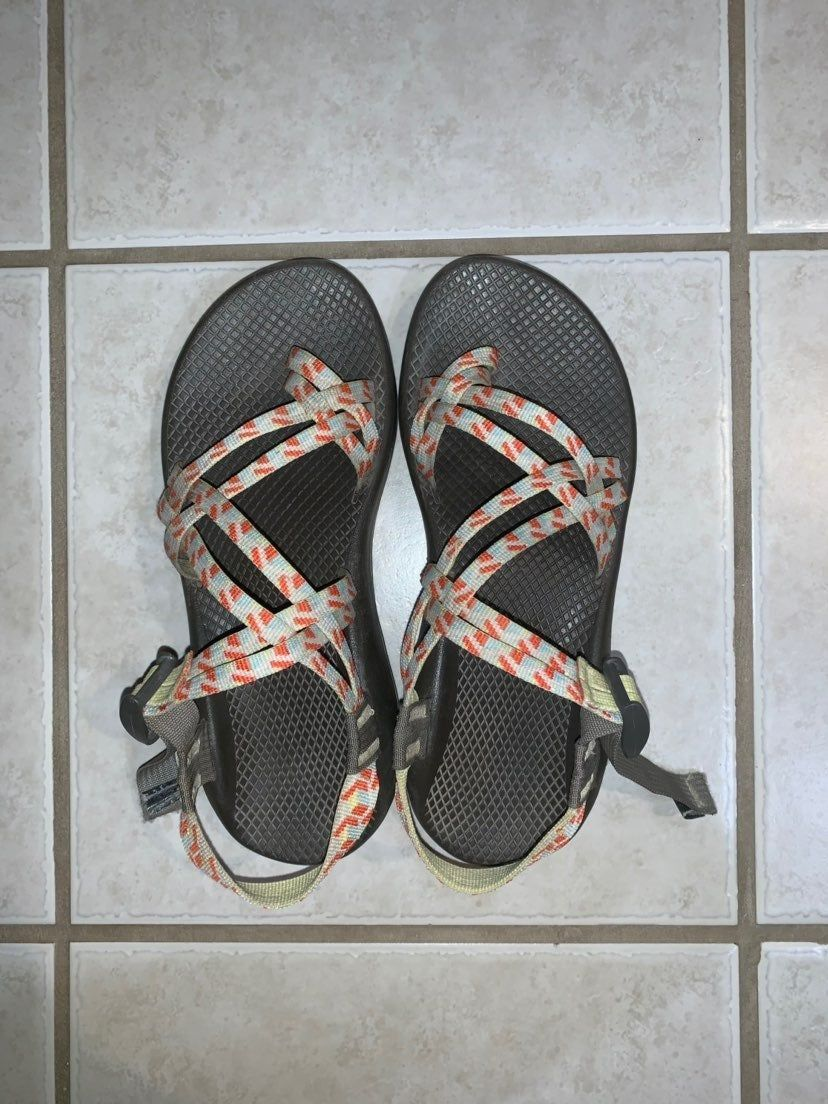 double strap chacos, orange green blue