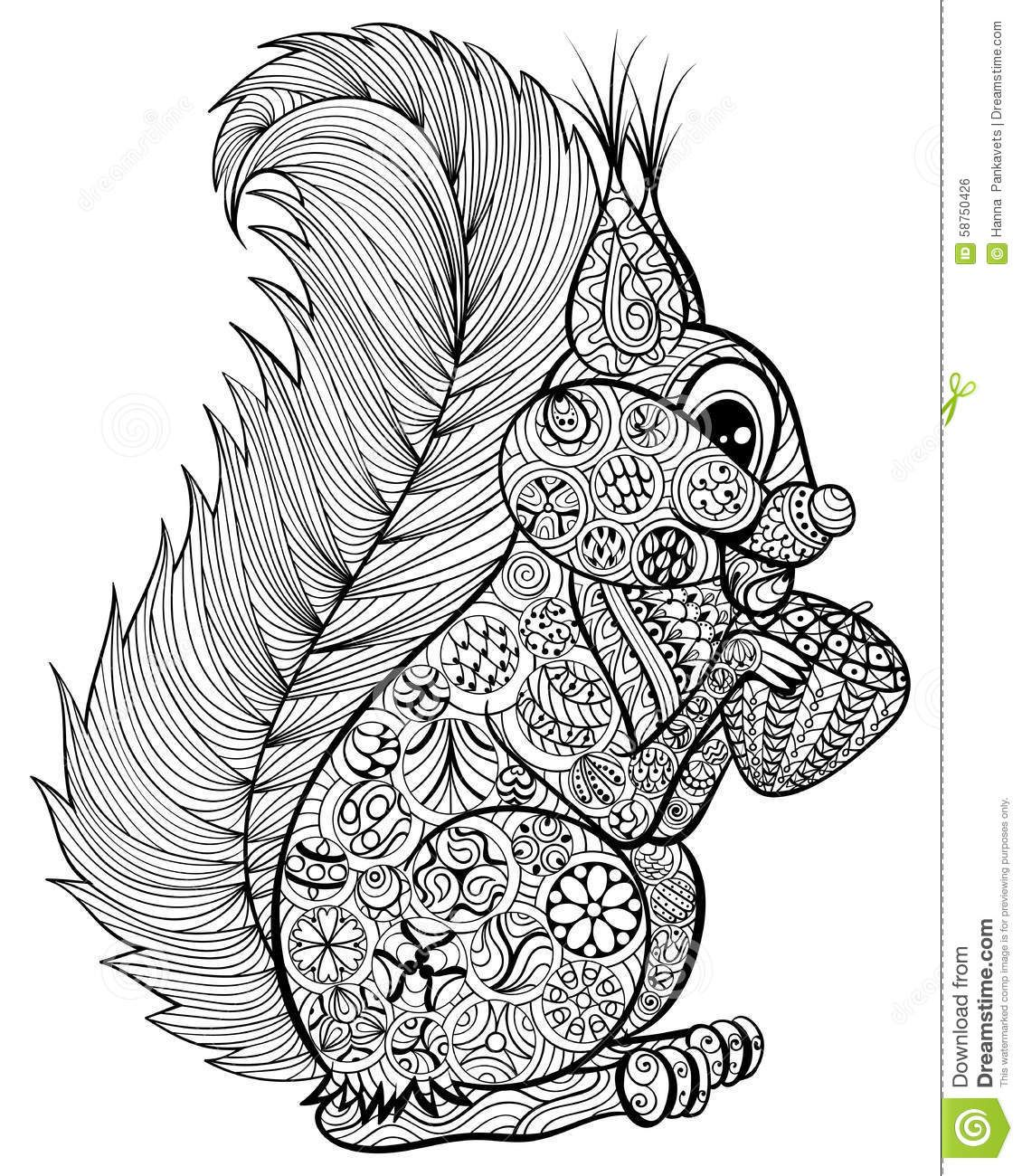 Anti stress colouring pages for adults - Hand Drawn Funny Squirrel With Nut For Adult Anti Stress Coloring Page