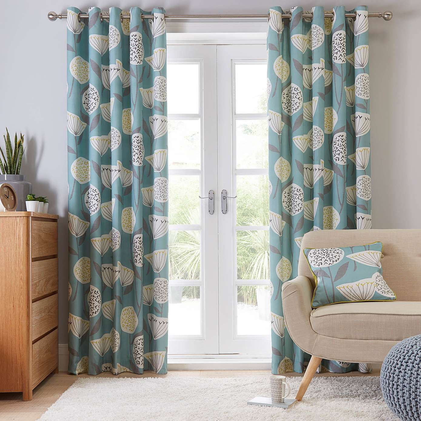 Emmott Teal Lined Eyelet Curtains Dunelm Teal Living R