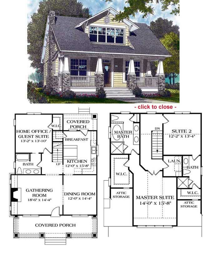 Bungalow floor plans craftsman style and house for Bungalow with attic house design