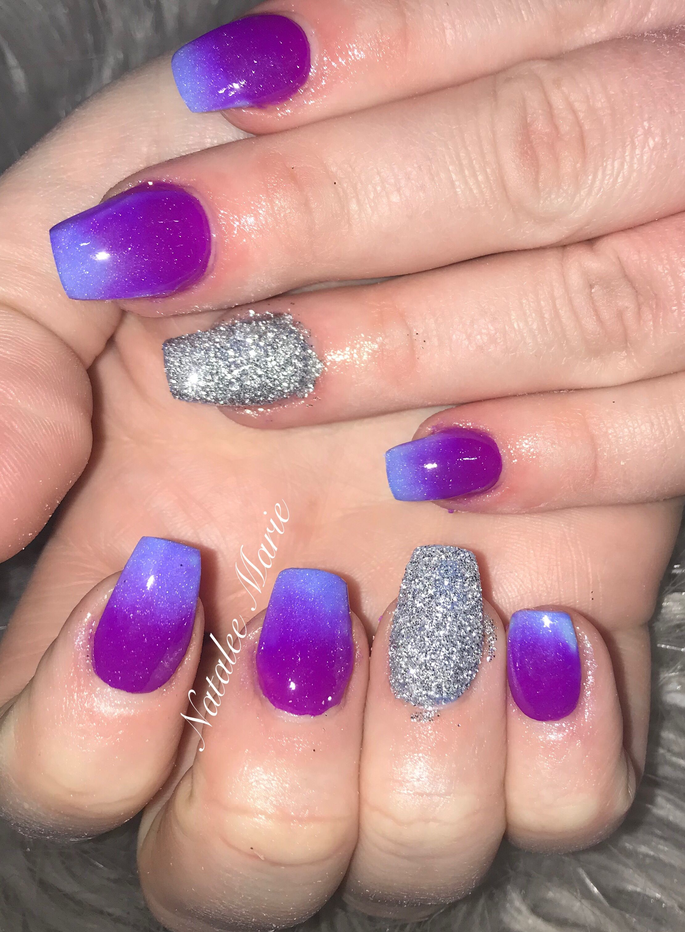 Blue And Purple Ombre Nail Bright Nail Designs Ombre Nails Glitter Bright Nails