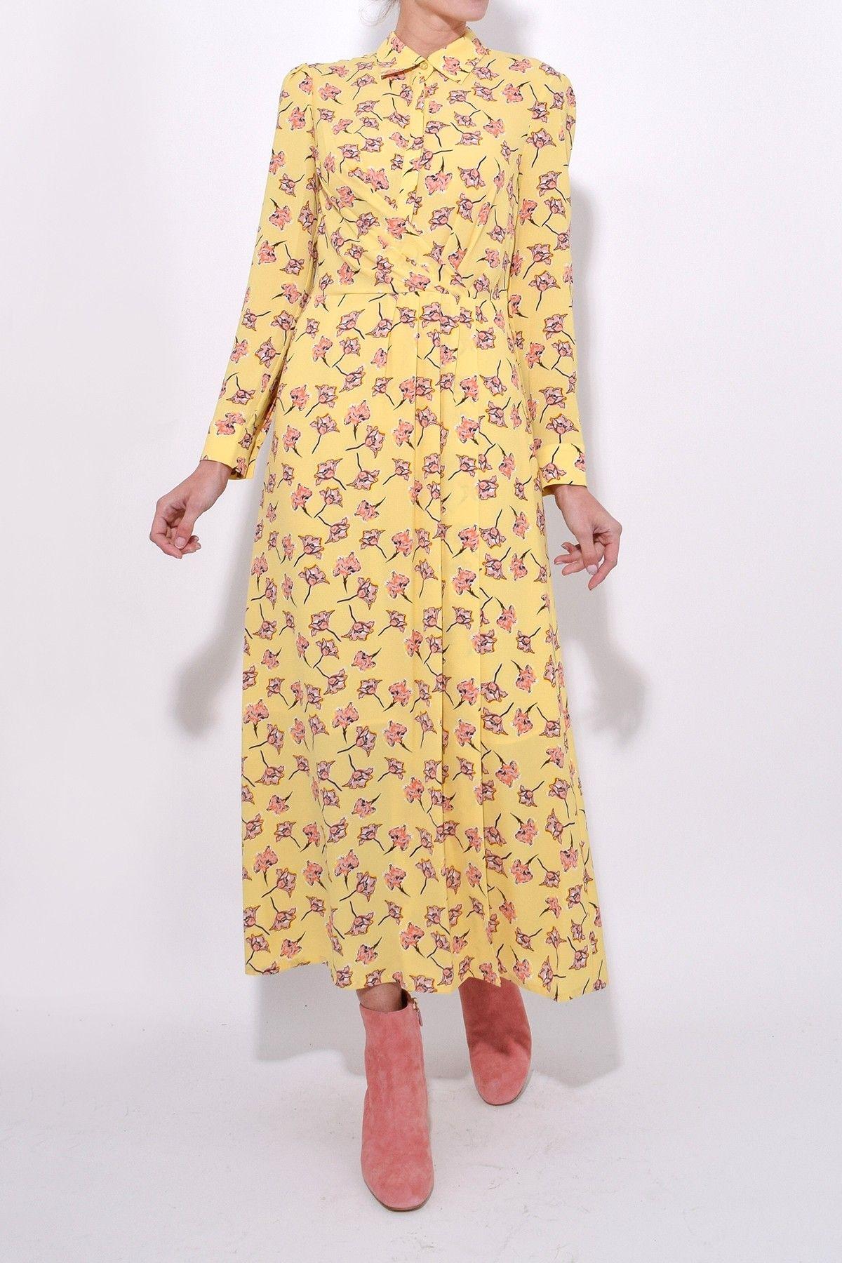 80fc377bfe69 Alham Dress in Lemon Flowersketch in 2019   Hampden Dresses ...