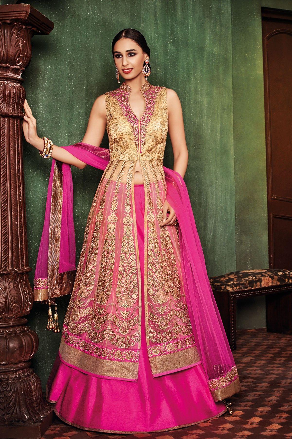 Hot pink u gold embroidered lovely lehenga with long jacket