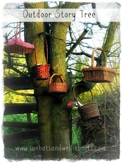 DIY Storytelling Tree with Story Baskets,  #baskets #DIY #naturalplaygroundideasactivitiesforkids #Story #Storytelling #Tree