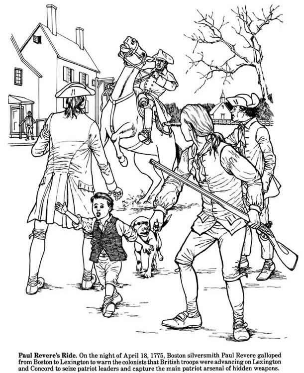 Welcome To Dover Publications People Coloring Pages Paul Revere S Ride American Revolution