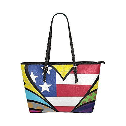 Angelinana Custom Romero Britto Graffiti Art 36 Leather Tote Bag Handbag Shoulder Travel