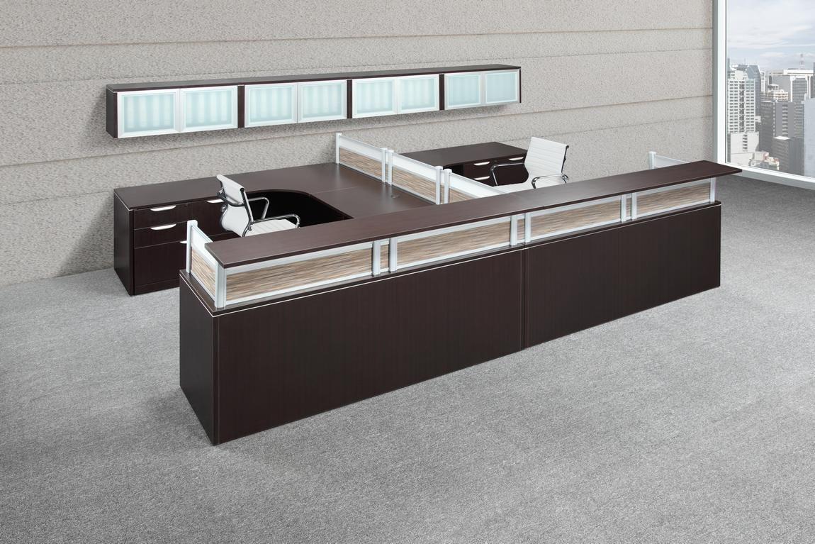 Executive U Shape 2 Person Reception Desk Modern Office