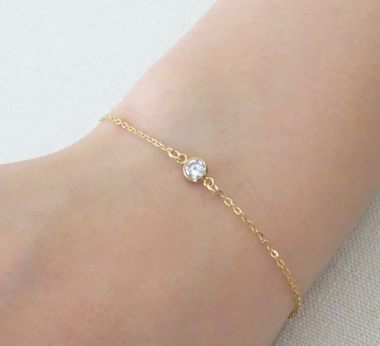 Cz bracelet diamond cz bracelet delicate layering bracelet