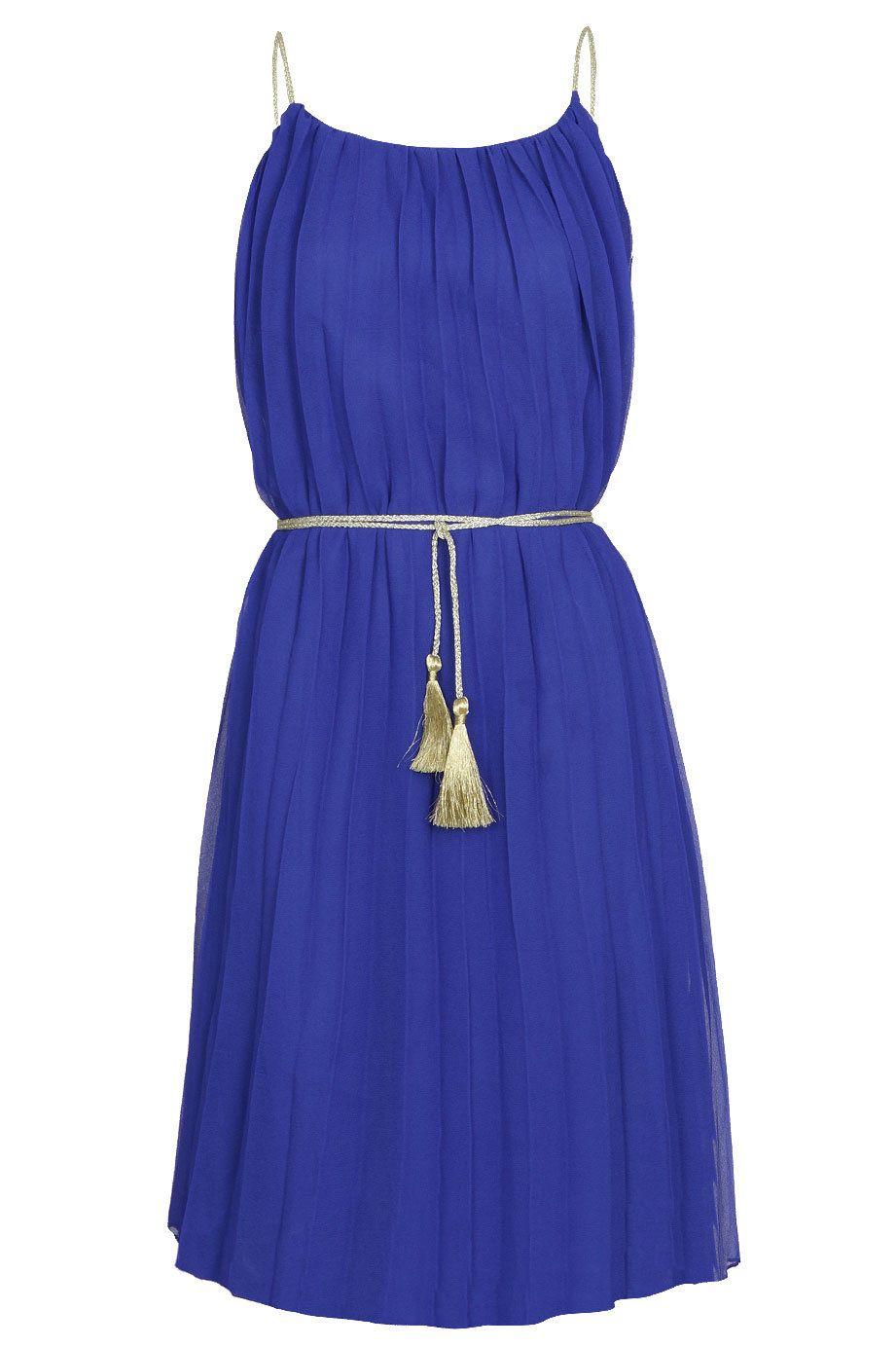 Vestido azul plisado COMPAÑIAFANTASTICA | Blue | Pinterest ...