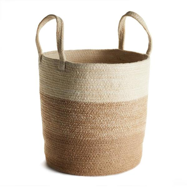 Jute Natural Round Basket With Long Handles C335m Jute With Handles Is Always A Nice Look Basket Storage Organization Round Basket Basket Long Handles