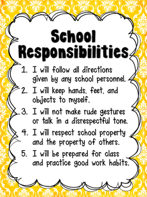responsibility in school Abstract the purpose of this study was to create, implement and evaluate a personal responsibility education program for high-school students using a constructivist framework, a five lesson program based on key themes identified by adolescents in focus groups was developed this program was run over one term at a.