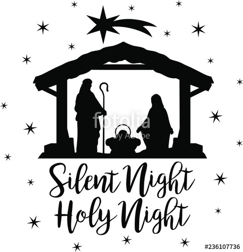 """Christmas Scene Nativity Silhouette Clip Art Design"