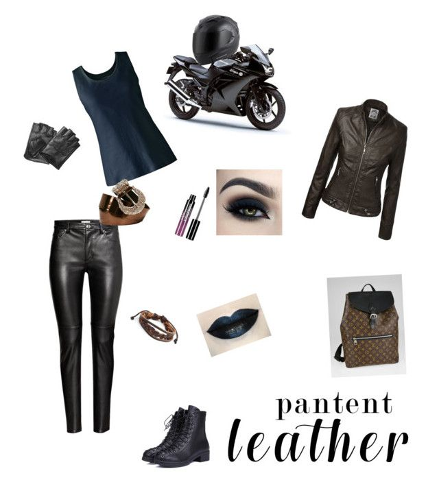 """""""leather"""" by sbstephens18 ❤ liked on Polyvore featuring H&M, Karl Lagerfeld, Lands' End, Too Faced Cosmetics, Charlotte Russe, West Coast Jewelry and Louis Vuitton"""