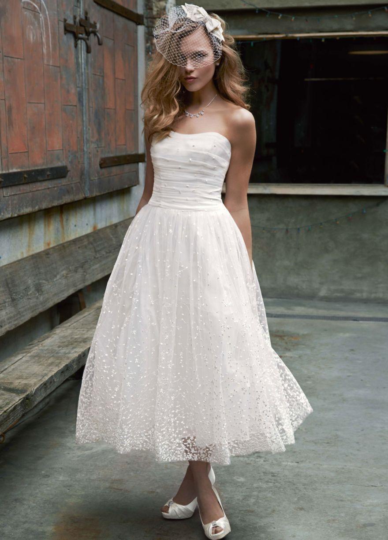 My Favorite Tea Length Wedding Dress Davids Bridal Wedding Dresses Short Wedding Dress [ 1227 x 880 Pixel ]