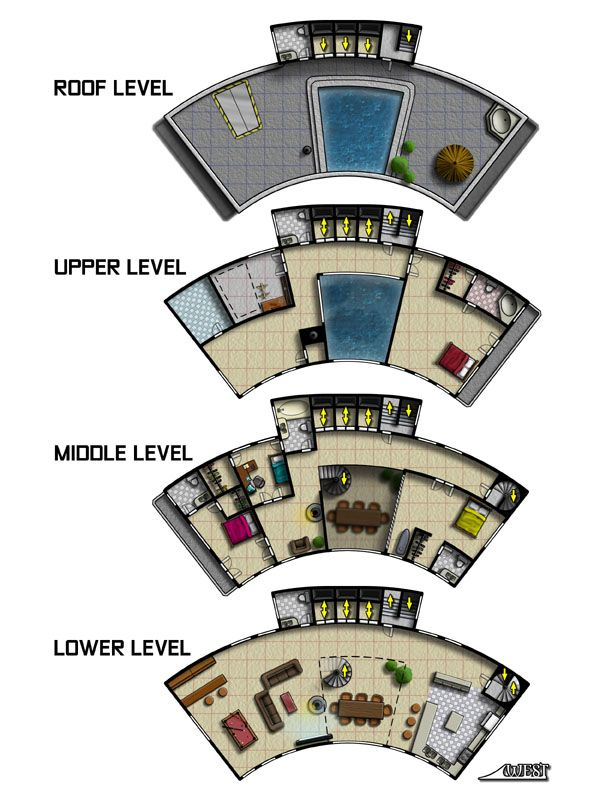 A penthouse apartment building I illustrated for a Mutants