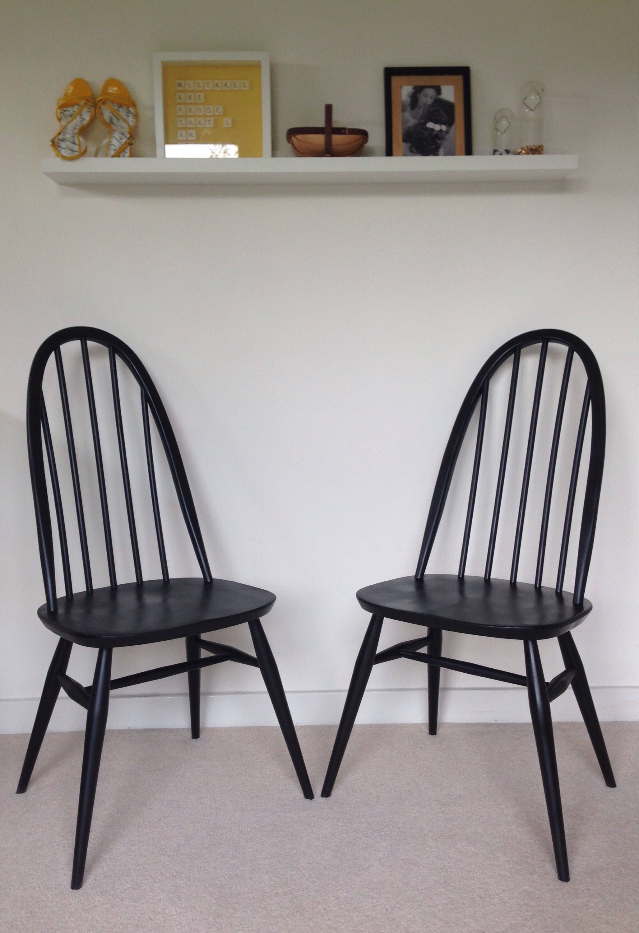 Pair Of Mid Century Vintage 1960s Ercol Quaker Dining Chairs