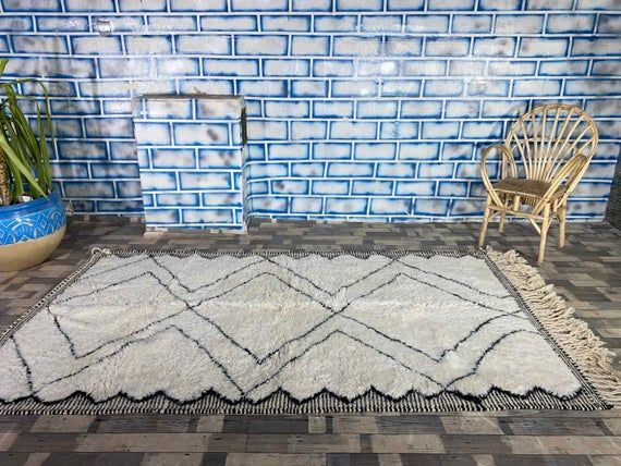 Beni Ourain Style Soft Wool Beni Carpet Handwoven by Berber Women from Morocco Area Rug 5X8