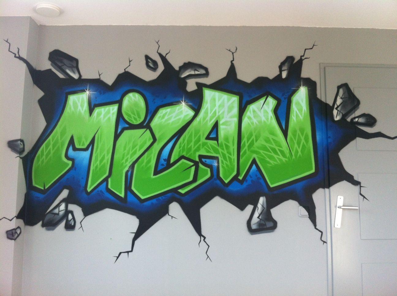 Graffiti kinderkamer muurschildering tienerkamer seventh