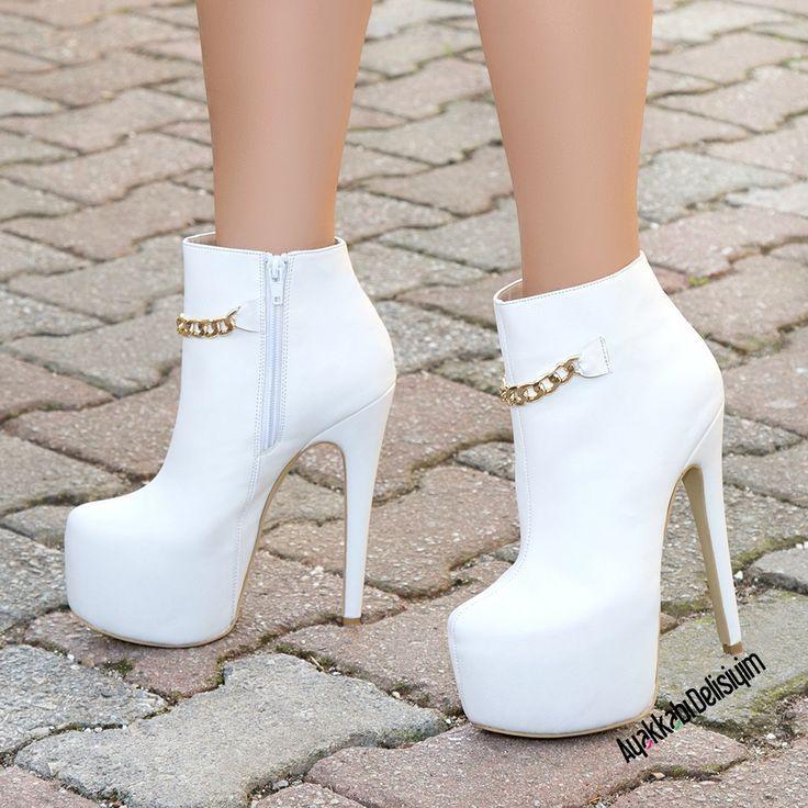 Eiffel White Platform High Heel Boots   Footwear Pinterest 1
