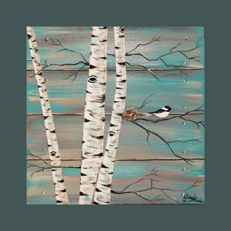 Original Acrylic Painting Canvas Rustic Wood Birch Trees