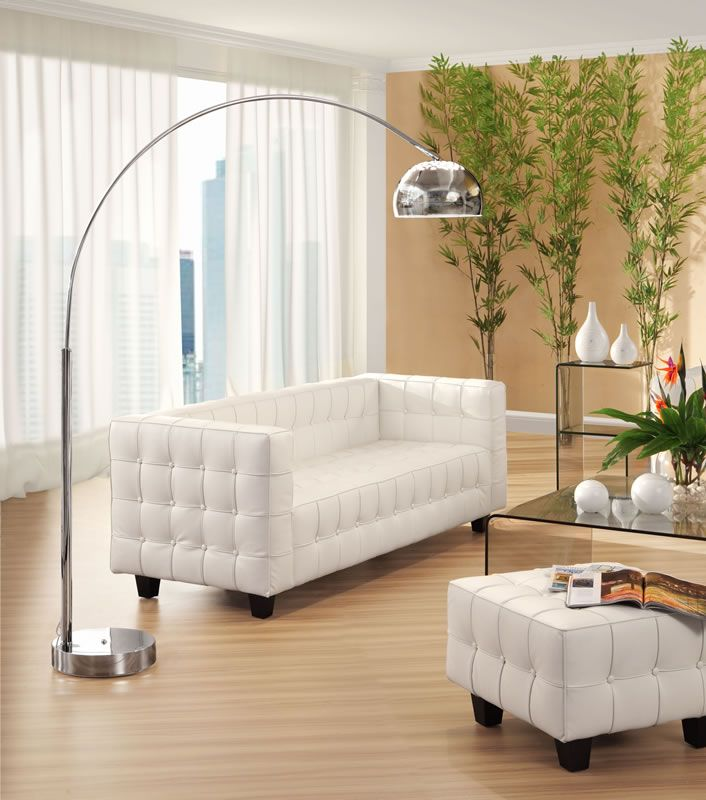 Galactic Floor Lamp Chrome - The Galactic Floor Lamp adds a little drama to the room. With its marble base and large chrome arm, it can reach that perfect unlit spot. It's a sleek dash of silver for your living room. http://goo.gl/uSzDdc