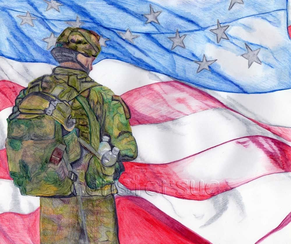 Soldier American Flag Watercolor American Flag Drawing American