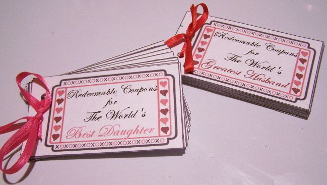 Valentine's Day Coupon Books  -- Got my template from another source and added a few things to it. Customized with different coupons for kids and hubby. These took me about an hour, maybe two, each.