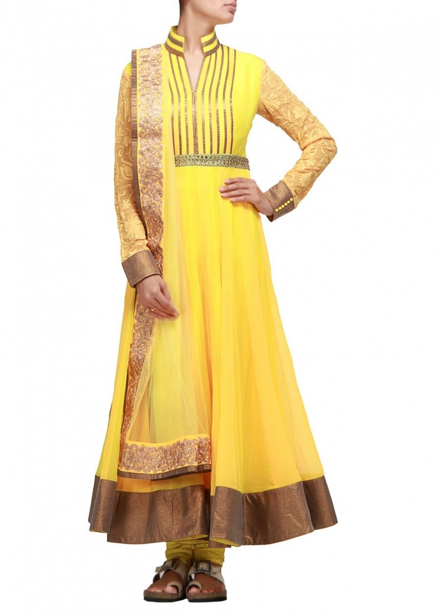 Jag fox anarkali suit in with alternate kali in yellow and orange