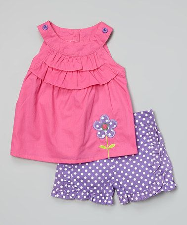Another great find on #zulily! Pink Ruffle Yoke Top & Purple Polka Dot Shorts by Duck Duck Goose #zulilyfinds