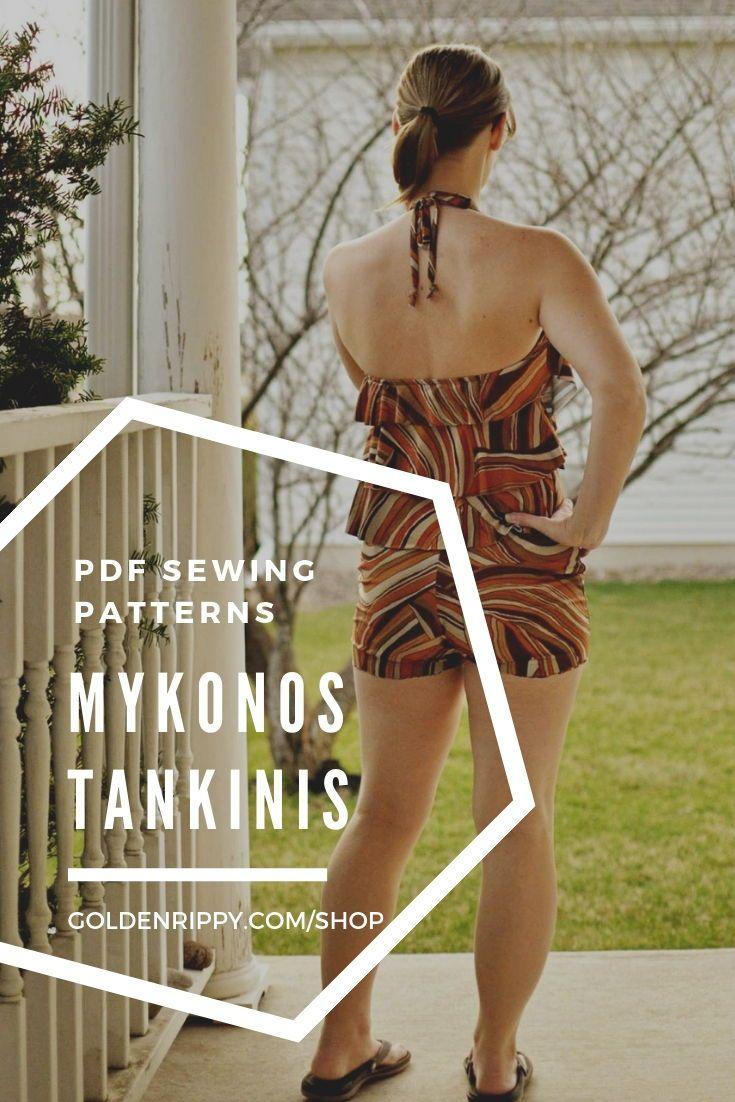Check out the Mykonos Tankini Collection. This pdf sewing patterns bundle includes 6 swimsuits. It has an empire tank, a peplum tank, and a triangle tank that can be paired with the classic bikini swim bottoms, skirted bottoms or boy short options. Mix and match until your heart's content. You'll want to sew yourself up a whole set of swimsuits to enjoy on your next vacation or cruise. Comes in women's sizes xxs- xxxl. #tankini #swimsuit #sewing #pattern #peplum #swim #women #diy #bikini
