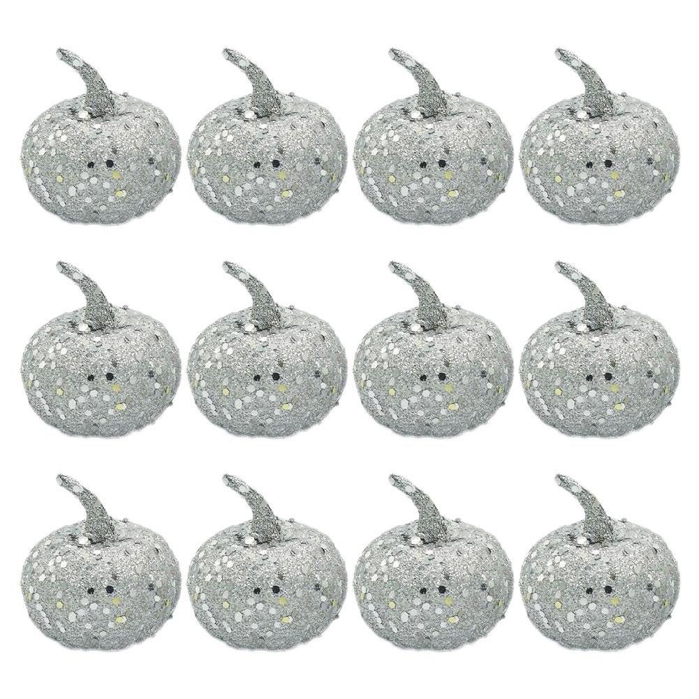 Photo of 12Pcs Halloween Party Home Garden Ornaments Glitter Sequins Fake Pumpkins Decor – Silver