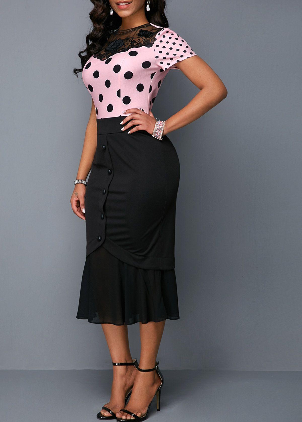 45da77028c Frill Hem Button Detail Lace Panel Dress | Rosewe.com - USD $32.05 ...