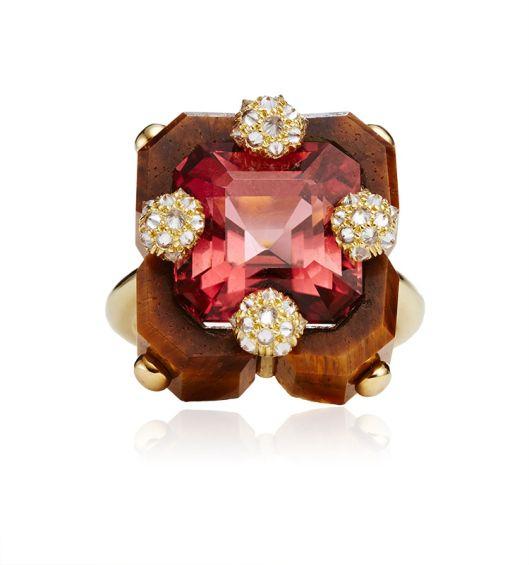 Nicholas Varney Carved-Tigers-Eye-Pink-Tourmaline-And-Diamond-Square-Duo-Ring
