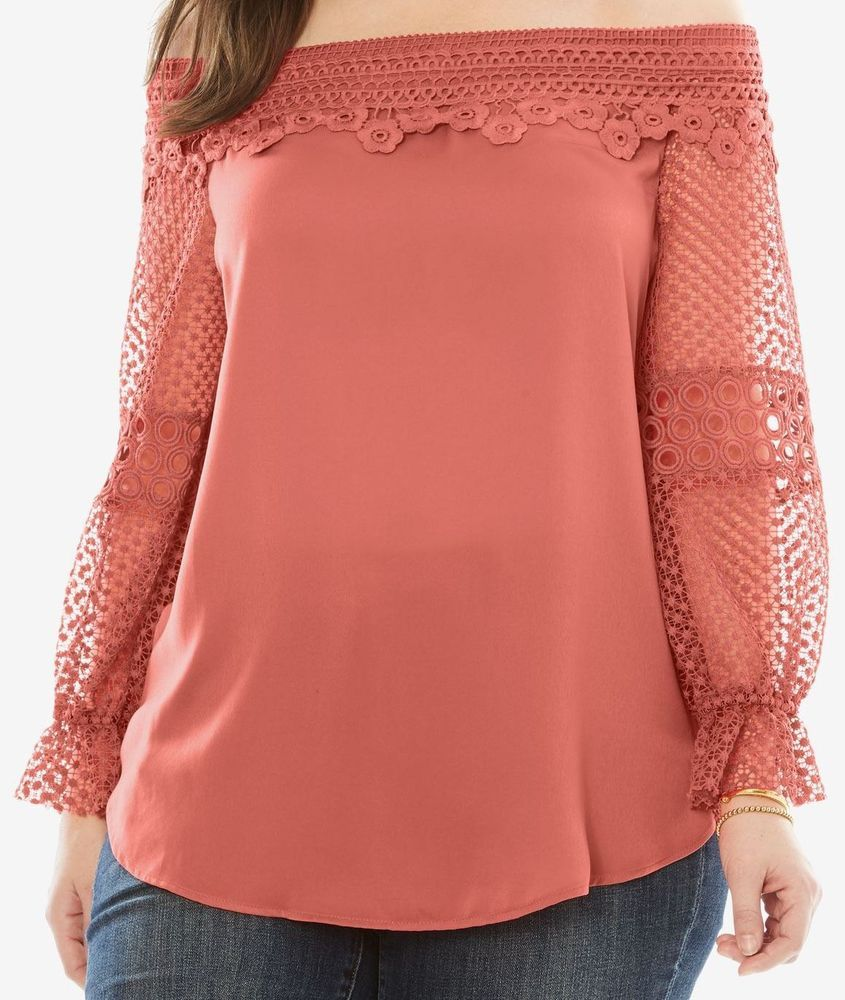 2c959228d8f21 Coral Lace Off-The-Shoulder Tunic by Denim 24 7 3X (32W) NWT 50% Off!   RoamansDenim247  Blouse