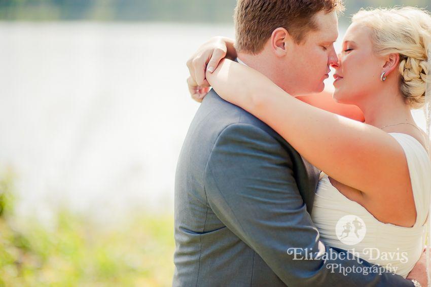 Gorgeous lakeside bride and groom portraits   Baker-Hooker Wedding   Elizabeth Davis Photography