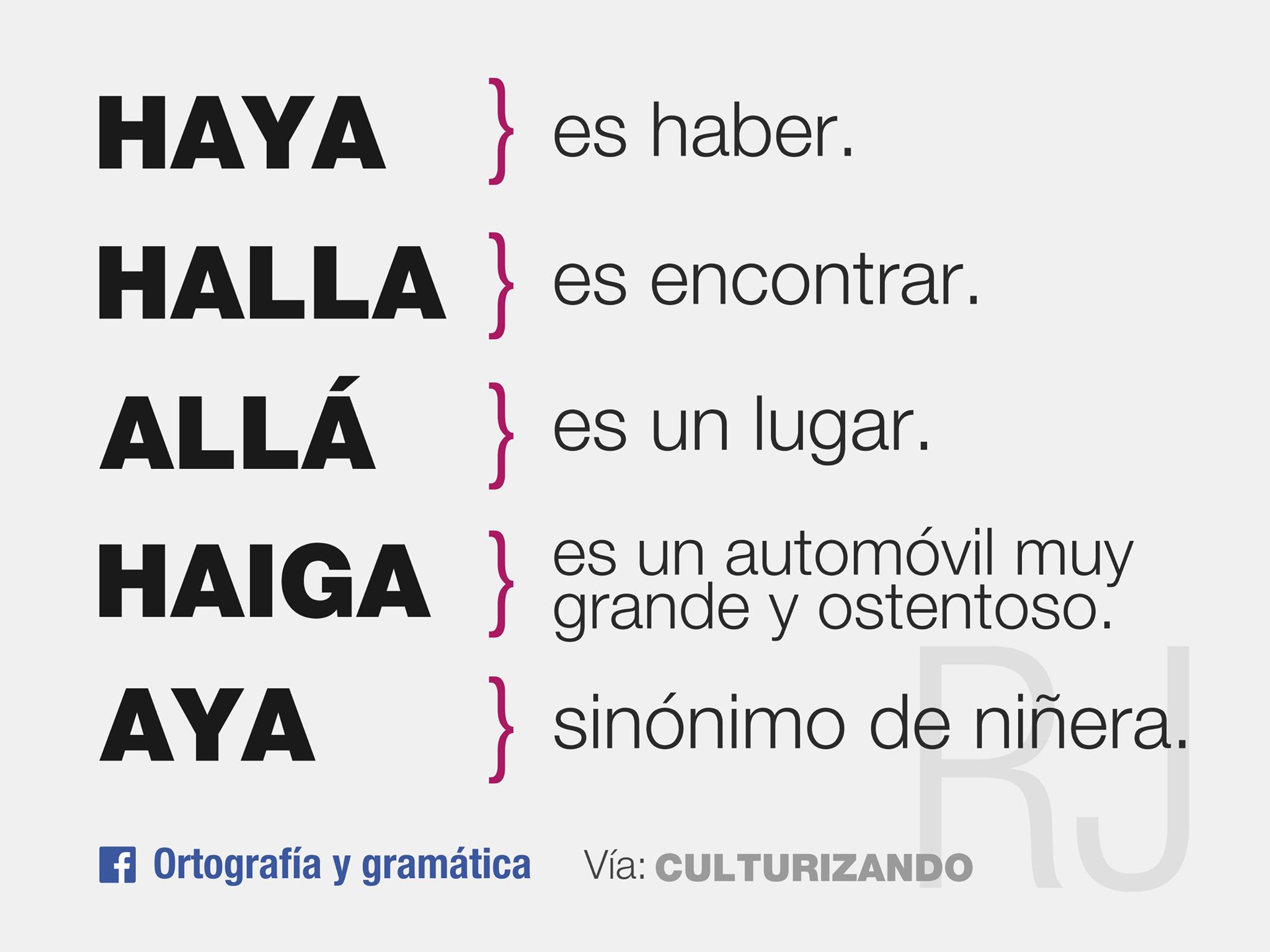 haya», «halla», «allá», «haiga» y «aya». | Ortotipografía, gramática ...