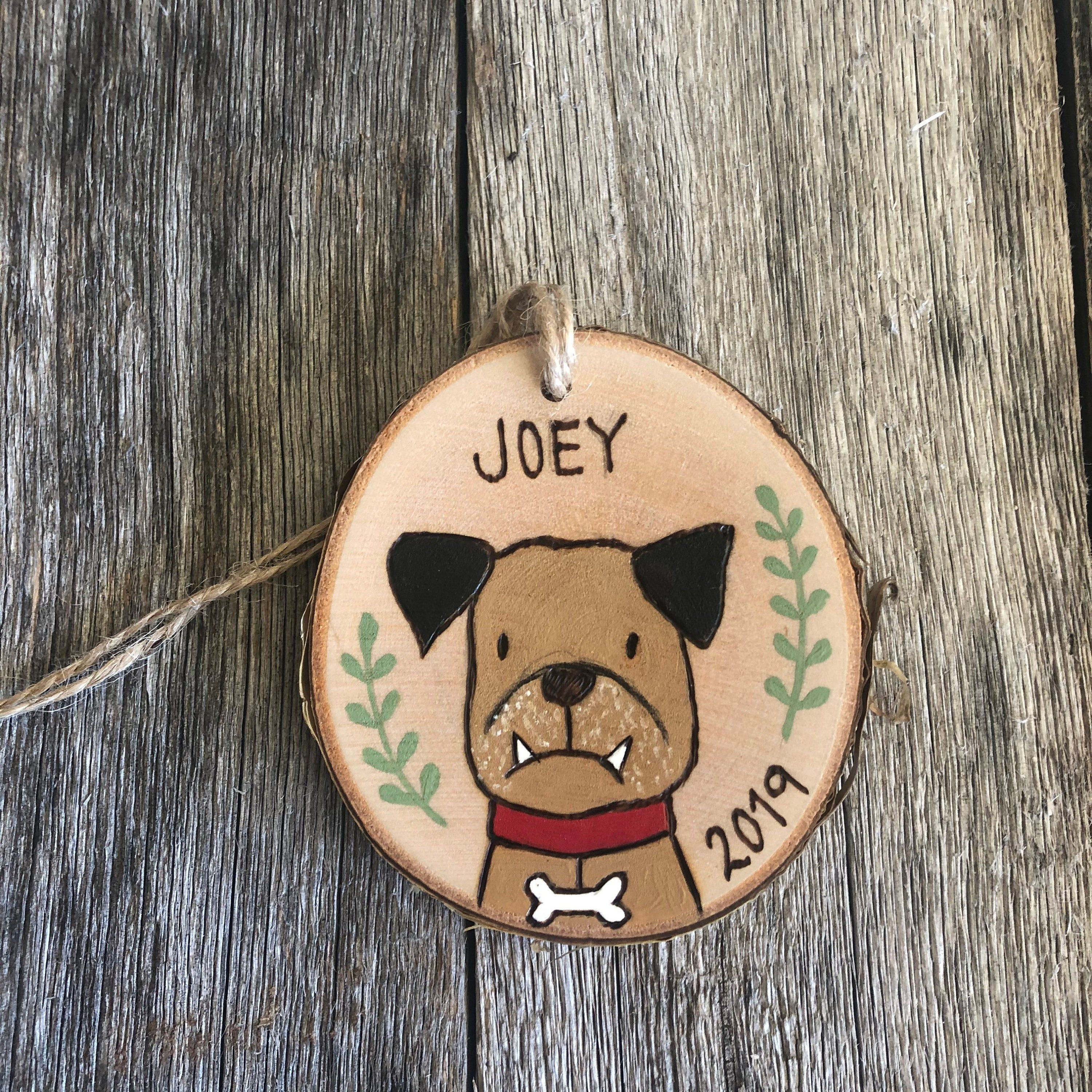 Personalized Dog Wood Slice Ornament Wood Burned Dog Art Etsy Wood Slice Ornament Christmas Crafts To Sell Christmas Gifts For Girls