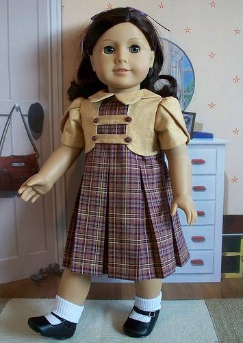 Ruthie SMithens hairband (purple) pleated dress purple and beige plaid beige top 1930s School