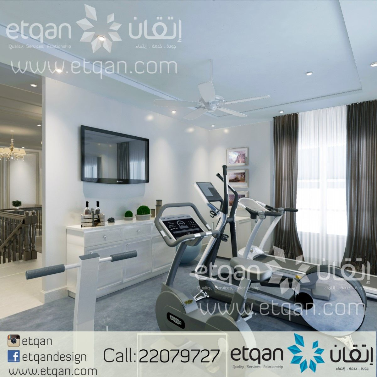 تصميم ديكورات صالة رياضية منزلية اتقان Etqan تصميم داخلي ديكور صالة رياضة حديث ديكورات Decore Gym Room Oman Muscat I Home Decor Design Home