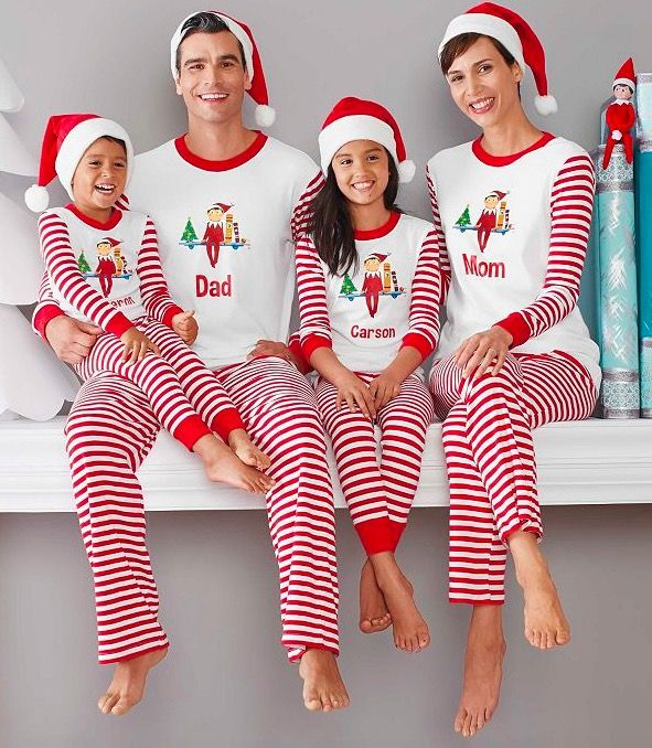 54fbfbb7f4 Family Matching Holiday Personalized The Elf On The Shelf Pajamas ...