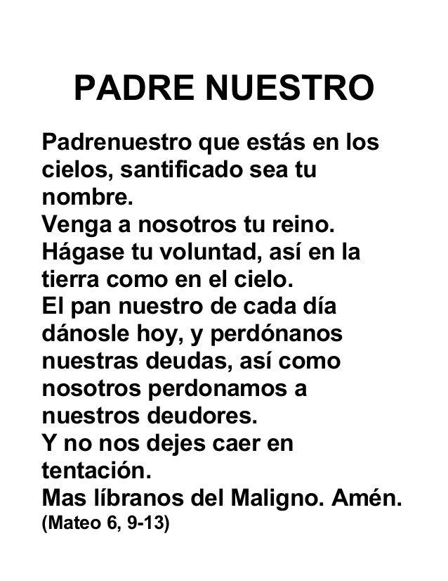 PADRE NUESTRO Padrenuestro que estás en los cielos, santificado sea ...