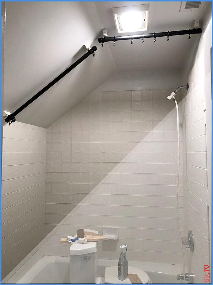 diy angled ceiling shower curtain rod