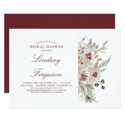 ivory and burgundy floral vintage bridal shower card floral bridal shower gifts wedding bride