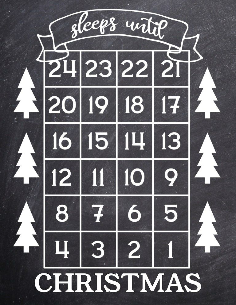 How Many Days Until Christmas Free Printable 20er und