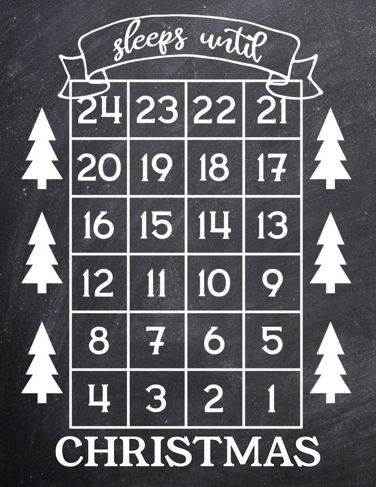 How Many Days Until Christmas Free Printable | 20er und Weihnachten