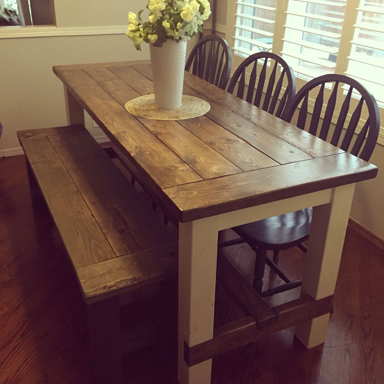 Anna White Farm House Table And Bench Stained In Minwax Jacobean And Cassic Grey Find Me On Instag Dining Table Wooden Dining Tables Diy Interior Furniture