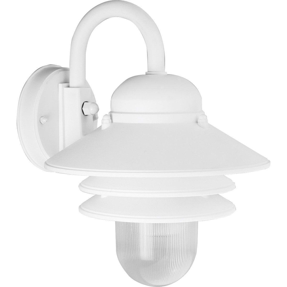 Progress Lighting P5645 30 Single Light Plastic Outdoor Wall Lantern With Prismatic Acrylic Shade White Outdoor Wall Sconce Wall Lantern Progress Lighting