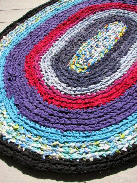 Crocheted Rag Rug On Etsy Crochet Rag Rug Braided Rug Diy Diy Rug